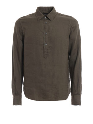ASPESI: shirts - Forest green linen polo shirt
