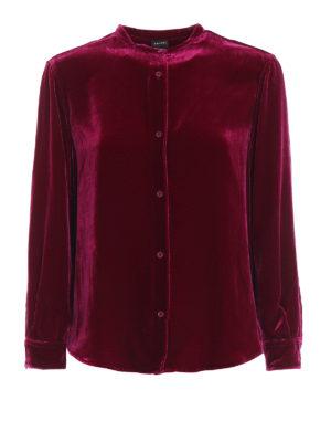 ASPESI: camicie - Camicia in velluto liscio misto seta fucsia