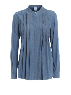 ASPESI: shirts - Pleated front denim shirt
