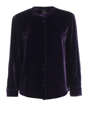 ASPESI: camicie - Camicia in velluto liscio misto seta viola