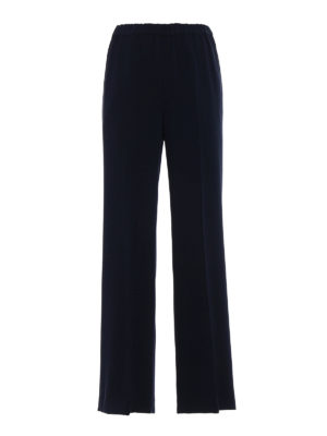 Aspesi: Tailored & Formal trousers - Comfortable crepe blue trousers