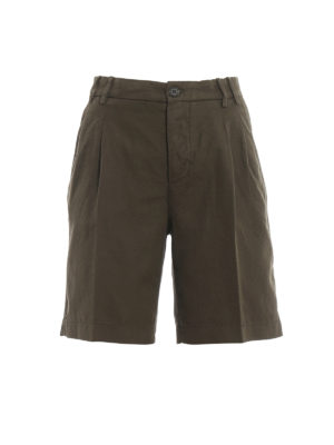 ASPESI: Trousers Shorts - Army green cotton and linen short pants