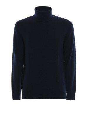 ASPESI: maglia a collo alto e polo - Dolcevita blu in misto yack e cashmere