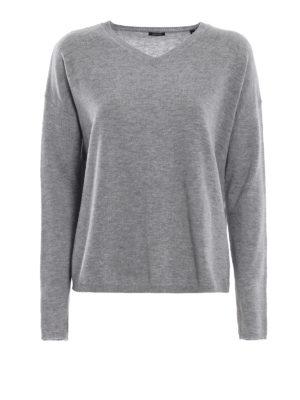 ASPESI: maglia collo a v - Pullover a V grigio in  lana