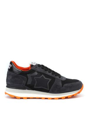 ATLANTIC STARS: sneakers - Sneaker Sirius in camoscio nero e arancio