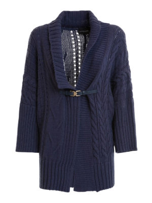 Atos Lombardini: cardigans - Cable knitted wool blend cardigan