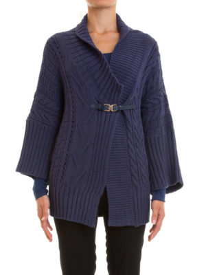 Atos Lombardini: cardigans online - Cable knitted wool blend cardigan