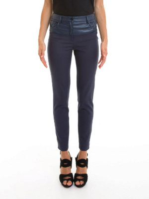 Atos Lombardini: casual trousers online - Faux leather detail 5 pocket pants