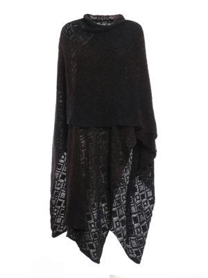 Avant Toi: Capes &  Ponchos - Diamond stitch knit merino cape