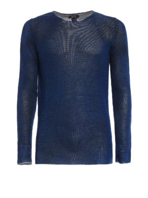 Avant Toi: crew necks - Hand painted blue linen sweater