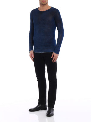 Avant Toi: crew necks online - Hand painted blue linen sweater