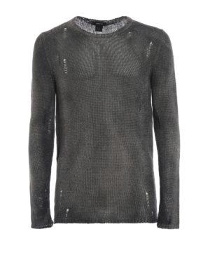 552ceef4a52a AVANT-TOI  maglia collo rotondo - Maglia tortora in lino effetto rovinato