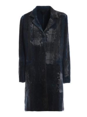 AVANT-TOI: cappotti al ginocchio - Cappotto misto cashmere blu effetto patchwork