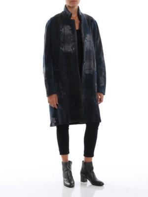 AVANT-TOI: cappotti al ginocchio online - Cappotto misto cashmere blu effetto patchwork