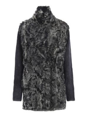 Avant Toi: short coats - Fur detailed knit wool short coat