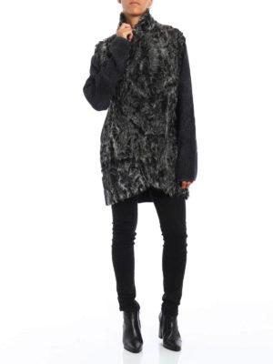 Avant Toi: short coats online - Fur detailed knit wool short coat
