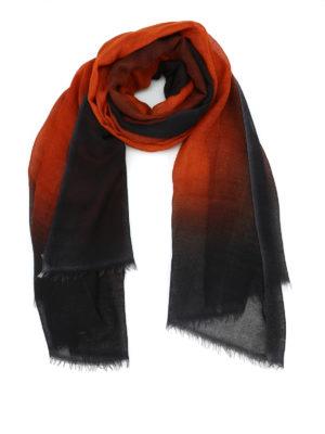 AVANT-TOI: Stole & Scialli - Pashmina nera e rosso terra in cashmere