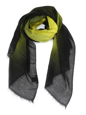 AVANT-TOI: Stole & Scialli - Pashmina in cashmere nero e giallo acido