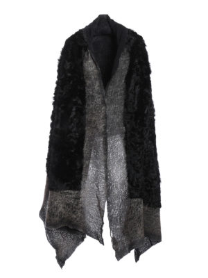 Avant Toi: Stoles & Shawls - Fur detailed destroyed shawl
