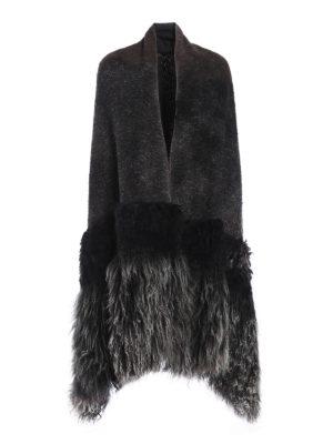 Avant Toi: Stoles & Shawls - Fur detailed knit wool stole