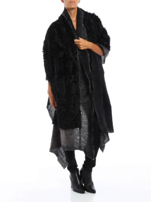 Avant Toi: Stoles & Shawls online - Fur detailed destroyed shawl