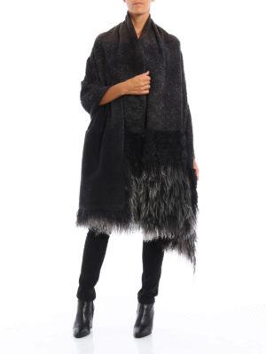 Avant Toi: Stoles & Shawls online - Fur detailed knit wool stole