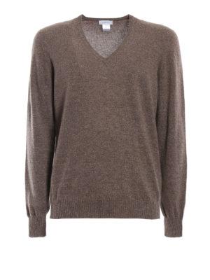 AVANT-TOI: maglia collo a v - Pull slim in cashmere color visone