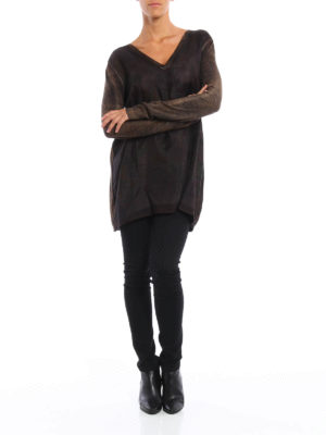 Avant Toi: v necks online - Silk panelled oversize top