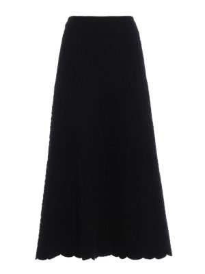 Azzedine Alaia: Long skirts - Embossed wool blend skirt