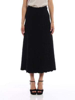 Azzedine Alaia: Long skirts online - Embossed wool blend skirt