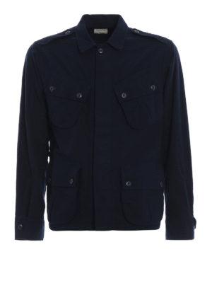 BAGUTTA: giacche casual - Giacca camicia in cotone felpato blu scuro