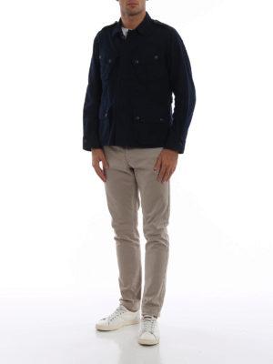 BAGUTTA: giacche casual online - Giacca camicia in cotone felpato blu scuro