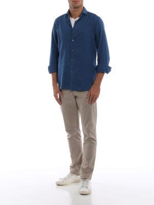 BAGUTTA: camicie online - Camicia blu in cotone délavé The Shirt