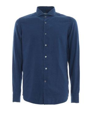 BAGUTTA: camicie - Camicia blu in cotone délavé The Shirt