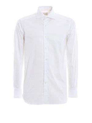 BAGUTTA: camicie - Camicia bianca in cotone stretch jacquard