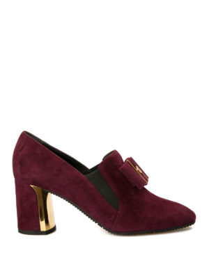 Baldinini: Loafers & Slippers - Heeled suede bow loafers