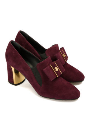 Baldinini: Loafers & Slippers online - Heeled suede bow loafers