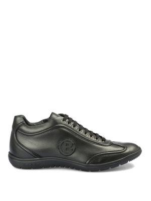 BALDININI: sneakers - Sneaker stringate in pelle con logo in gomma