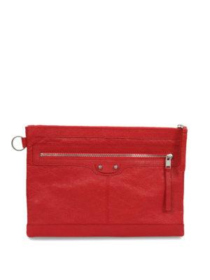 Balenciaga: clutches - Clip M leather clutch