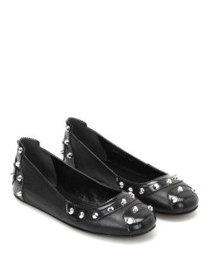 Balenciaga: flat shoes online - Studded leather flats