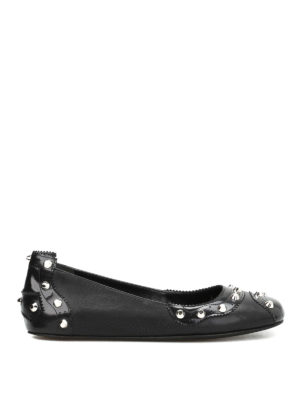 Balenciaga: flat shoes - Studded leather flats