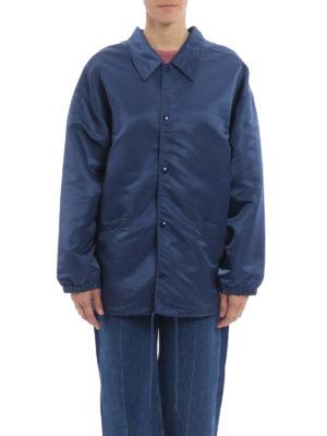 Balenciaga: short coats online - Shimmering nylon short coat