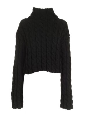 BALENCIAGA: Turtlenecks & Polo necks - Tricot effect pullover in black