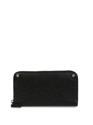 Balenciaga: wallets & purses - Vintage effect leather zip wallet