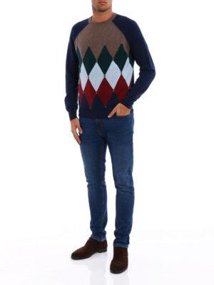 Ballantyne: crew necks online - Cashmere argyle intarsia sweater
