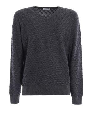 Ballantyne: v necks - Cashmere blend diamond sweater