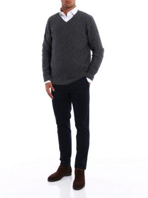 Ballantyne: v necks online - Cashmere blend diamond sweater