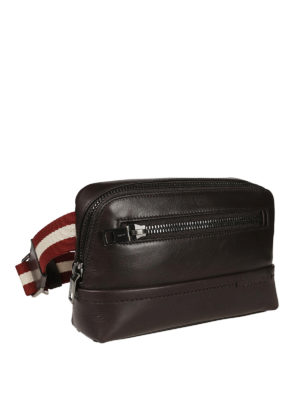 Bally: belt bags online - Twing brown leather bum bag