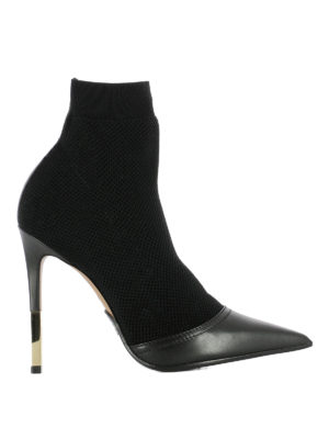 Balmain: ankle boots - Knit mesh and leather ankle boots