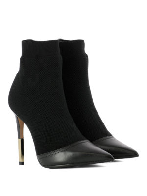 Balmain: ankle boots online - Knit mesh and leather ankle boots